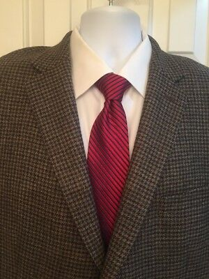 Lauren Ralph Lauren RLR Houndstooth Blazer Jacket 50R Trim Fit Wool Black Gray