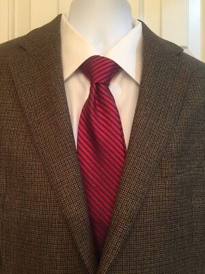 Chaps Houndstooth Mens Blazer 42R Excellent Condition Brown Fully Lined Wool