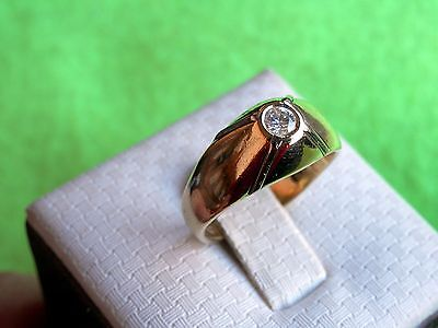 18K Solid Yellow Gold Antique European Bezel Set 0.15TCW Diamond Ring 6g  Size 7