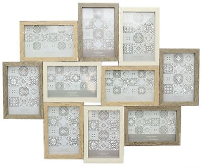 Large 10 Aperture Wooden Hanging Photo Picture Collage Multi Tonal Frame