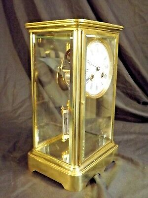 19c French Brass 4 Glass Clock C1880.