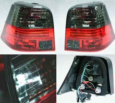 VW Golf MK4 4 Hatchback Crystal Red Black Smoke Tail Lights Rear Lamp GTI R32