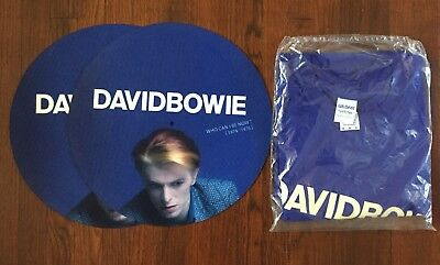 DAVID BOWIE Who Can I Be Now PROMO SET - (2) Turntable Slip Mats + T-Shirt NEW