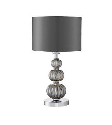 STACKED BALL TABLE Lamp Chrome & Glass + Shade Curved Modern Elegant Smokey