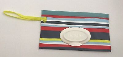Huggies Brand Clutch 'N' Clean Striped Wipes Pouch Travel Handle Red Blue Gray