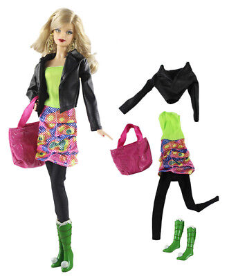 5in1 Set Jacket+dress+leggings+boots+Bag FOR 11.5in.Doll Clothes b01