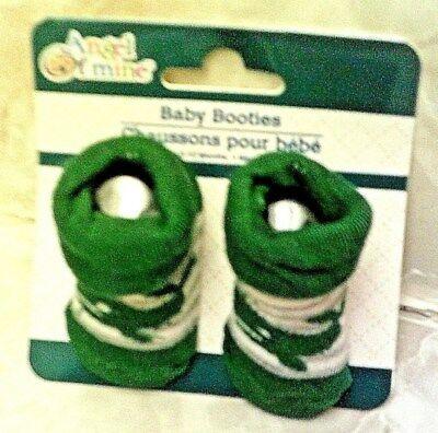 Angel Of Mine Green Whale Baby Booties Gray Stripe 0-12 Months New