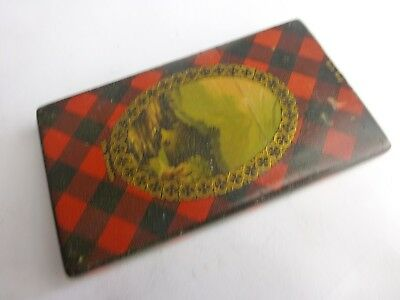 antique calling  card case   Rob Roy tartan