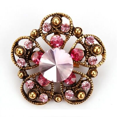 Pink Alloy Five Leaves Bouquet Scarf Pin and Brooch