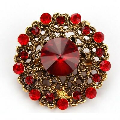 Garnet Round Crystal Alloy Bouquet Pin and Brooch