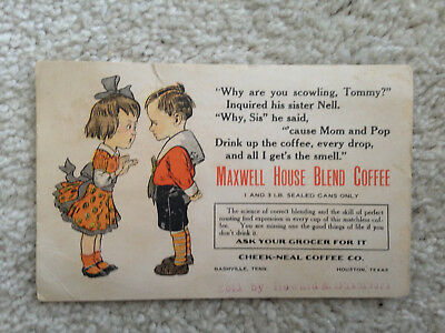 Post Card 1907 Maxwell House Blend Coffee Cheek Neal Coffee Co