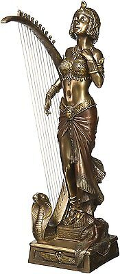 Art Deco Cleopatra with Egyptian Harp Statue Sculpture Figurine