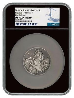 2018 British Virgin Islands Silver $20 - Pegasus - MS 70 ANTIQUED FR - NGC Coin