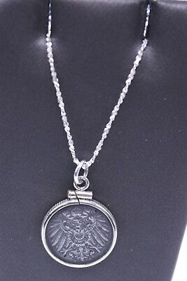 925 Silver Bezel German 1918 5 Pfennig Imperial Eagle Coin Necklace 5.2g MO3934