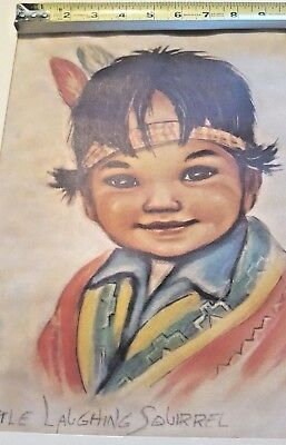"Artwork ""Little Laughing Squirrel"" Native American matted, colorful 16 x 20"