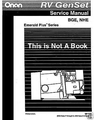 E-K NHE/NHEL Onan RV GenSet BEG Plus III Service Manuals Operators Installation