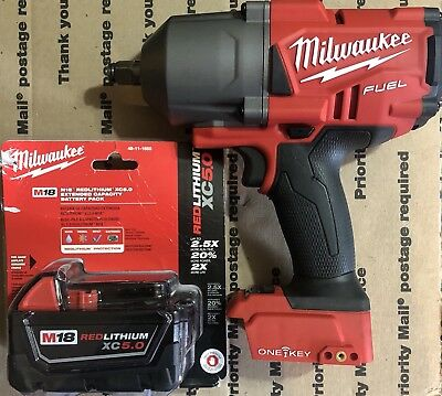 "Milwaukee M18 FUEL ONEKEY 2863-20 Cordless 1/2"" Square Impact Wrench 5.0 Battery"
