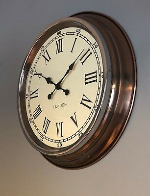 """Vintage Style Copper With White Face """"london"""" Wall Clock"""