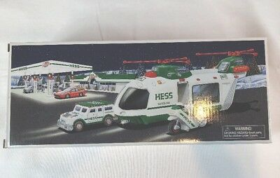 2001 Hess Toy Truck Helicopter W/ Motorcycle And Cruiser NIB ABSOLUTELY PERFECT
