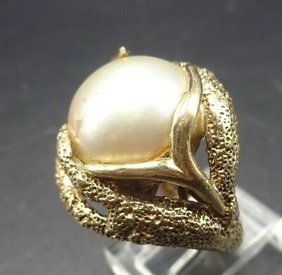 Gorgeous 14K ESTATE RING size 6.5, 14 karat Yellow Gold & Mabe Pearl 13.4g