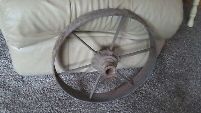 Vintage ANTIQUE PRIMITIVE COUNTRY FARM Machine Steel Metal IRON Wagon WHEEL 17""