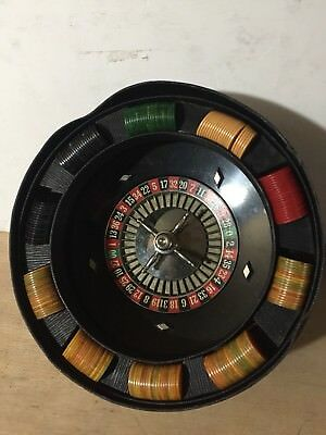 "Vintage 12"" Inch Bakelite Roulette Wheel (Made in the USA) AP Games WITH CHIPS"