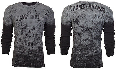 XTREME COUTURE by AFFLICTION Mens THERMAL T-Shirt DEAD ALIVE Skull Guns $58