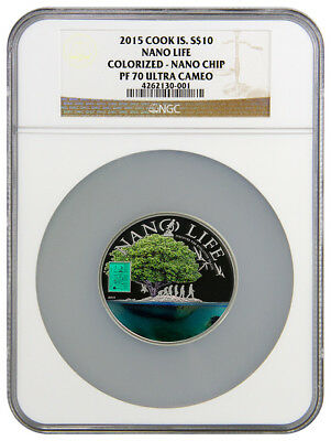 2015 Cook Islands Silver $10 - Nano Life - Colorized - PF70 UC - NGC Coin - RARE