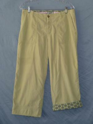 Horny Toad Pale Green SOFT Pinwale Corduroy Button-Fly Full Leg Crop Pants~8~EUC