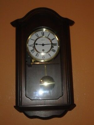 Vintage Hermle Mechanical Dark Wood Wall Clock, With Pendulum & Chimes