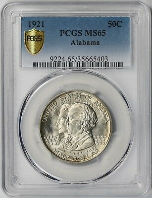 1921 Alabama 50C PCGS/Gold Shield MS 65 Early Silver Commemorative Half Dollar