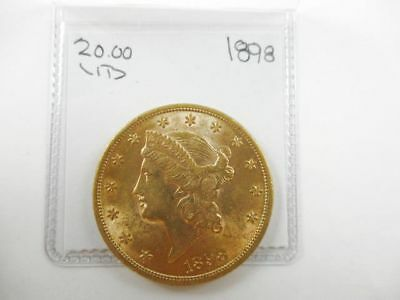 $20 U.S. Dollar Gold Coin Liberty Head Double Eagle 1898 Uncirculated