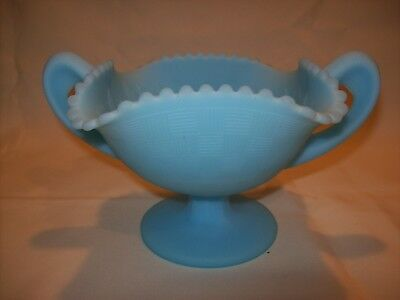 VTG Fenton Blue Satin Art Glass Compote Candy Dish Footed Pedestal Ruffled Rim