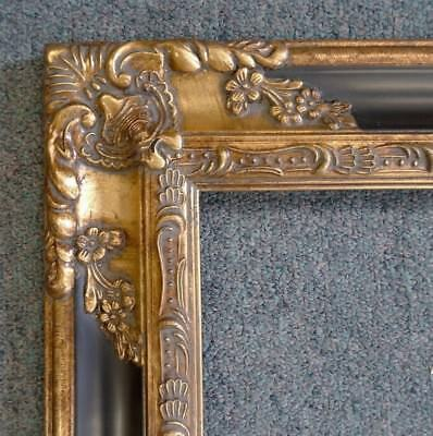 Picture Frame 8x10 Vintage Antique Style Baroque Gold/Black Ornate w GLASS 1238
