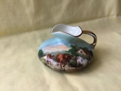 Shallow Gemma Jug with Driving Cattle Country Scene