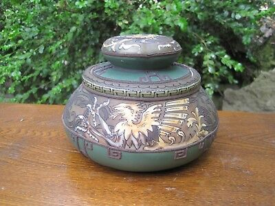 Rare Large Antique NIPPON Humidor Moriage Jar ~ Winged Phoenix or Dragons ~ EUC