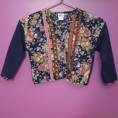 Vintage PALMETTO'S Floral Quilted Front Cardigan Sweater Blazer Toddler Girls 4T