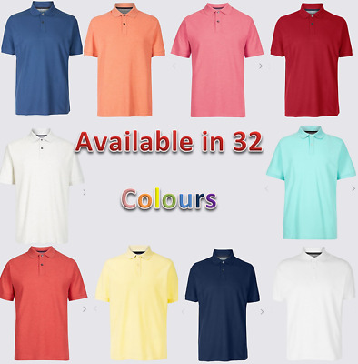 Ex M&S Mens Pure Cotton Pique Polo Shirt Short Sleeved Vibrant Colours Brand New