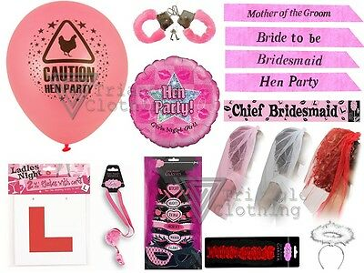 Hen Party Fun Accessories Props Bride To Be Pink Games Badges Sash Veils Novelty