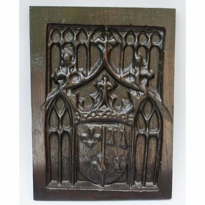 Antique French Carved Architectural Salvaged Gothic style Weapon Shield Panel