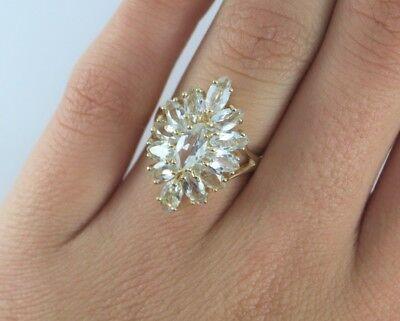 $995 UNS 10K Yellow Gold Marquise White Tinted Blue Stone Cocktail Ring Band