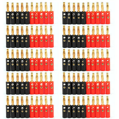 100 Pcs 4mm Gold Plated Banana Plug Black And Red Connector Adapter UE