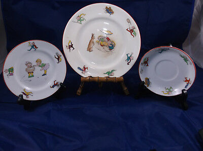 BROWNIE/MERRY ELVES ROYAL CROWN STAFFORDSHIRE PLATES Signed R.R.T. RR TOMLINSON