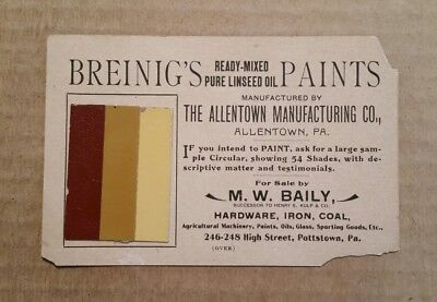 Breinig's Paints,Allentown Mfg.Co.Allentown,Pa.,Paint Samples Trade Card,1890's