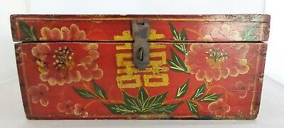 Antique Chinese Hand Painted Wood Box, Red Lacquer Wooden Hinge Box N/R