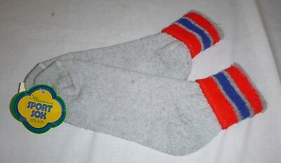 Pr Vintage Womens Terry Sport Sox Ankle Socks Gray Red Blue Stripe Fold Down