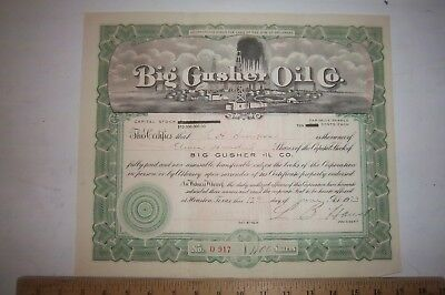 Big Gusher Oil Company Delaware 1100 Shares of Stock 1923 10 Cents Each Share