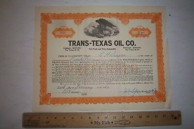 Trans-Texas Oil Company 25 Shares of Stock 1930 $1.00 Per Share Texas Oil