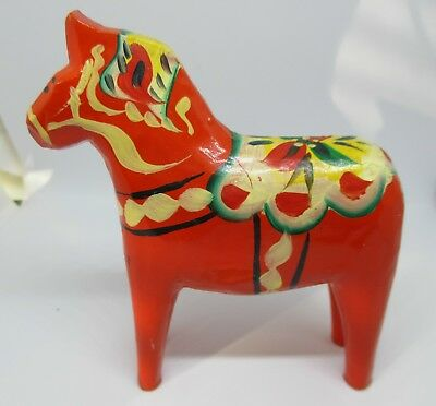 "Vintage Swedish Dala Horse Olsson Orange Red Folk Art w Label 4"" Tall"