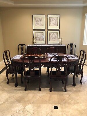 9-Piece Hand Carved Dining Set